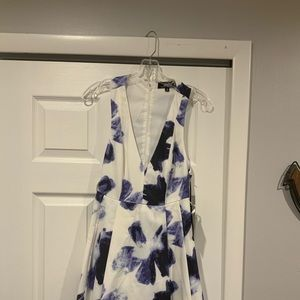 Lulu's Blue and Ivory Print Skater Dress Size S